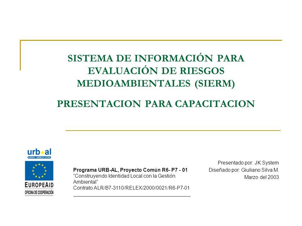 SISTEMA DE INFORMACIÓN PARA EVALUACIÓN DE RIESGOS MEDIOAMBIENTALES (SIERM) PRESENTACION PARA CAPACITACION