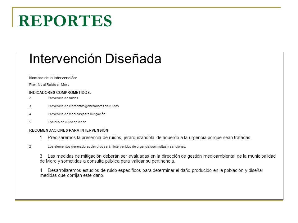 REPORTES Intervención Diseñada. Nombre de la Intervención: Plan: No al Ruido en Moro. INDICADORES COMPROMETIDOS: