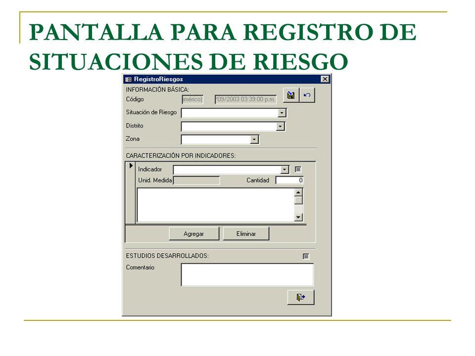 PANTALLA PARA REGISTRO DE SITUACIONES DE RIESGO