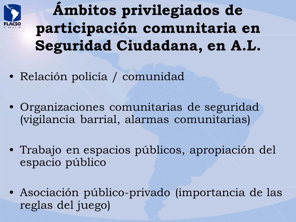 Ámbitos privilegiados de participación comunitaria en Seguridad Ciudadana, en A.L.