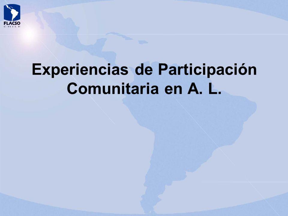 Experiencias de Participación Comunitaria en A. L.