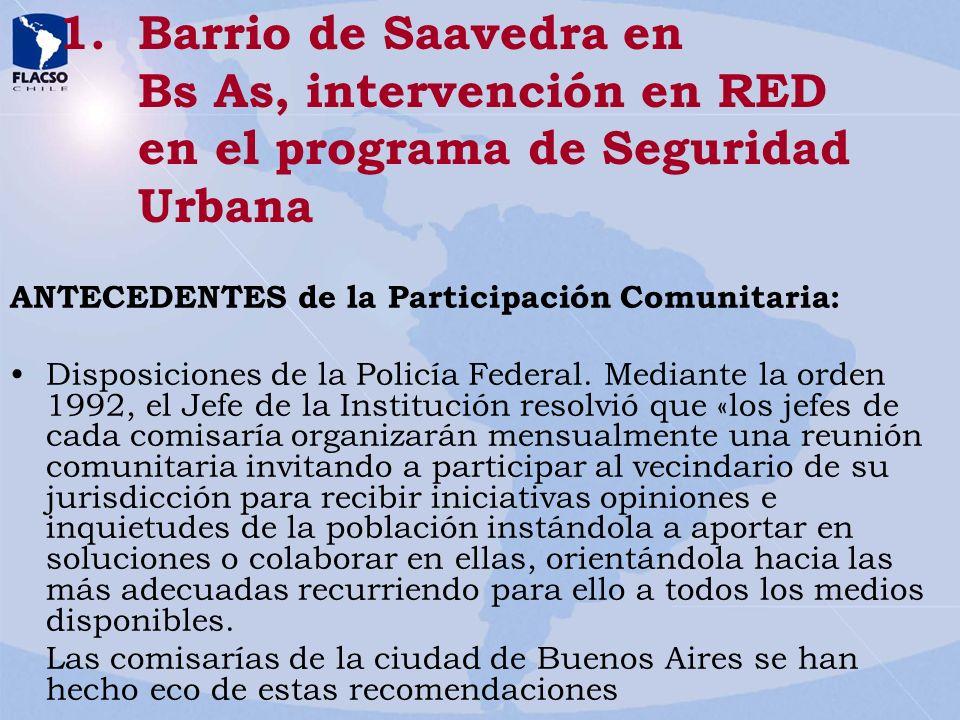 Barrio de Saavedra en Bs As, intervención en RED en el programa de Seguridad Urbana