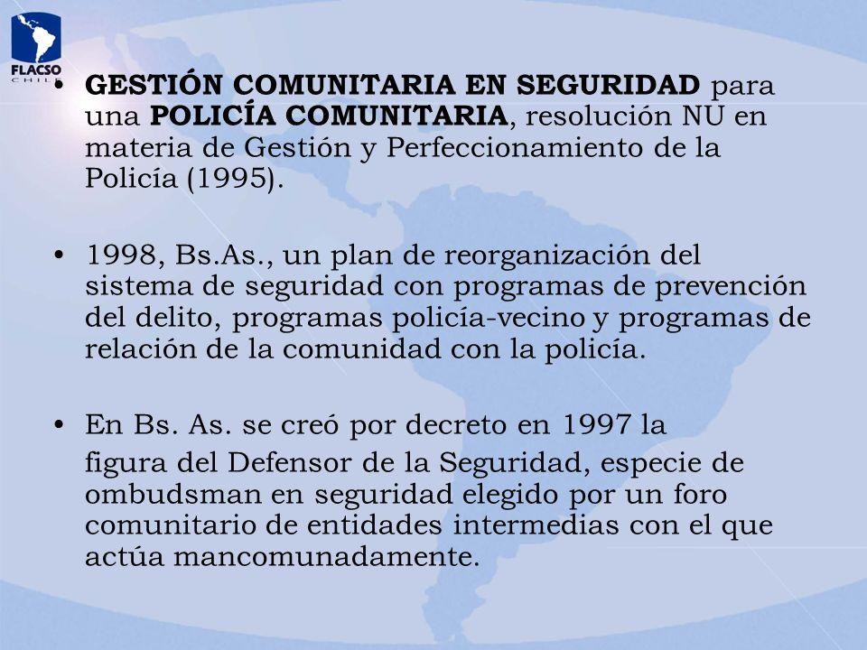 GESTIÓN COMUNITARIA EN SEGURIDAD para una POLICÍA COMUNITARIA, resolución NU en materia de Gestión y Perfeccionamiento de la Policía (1995).