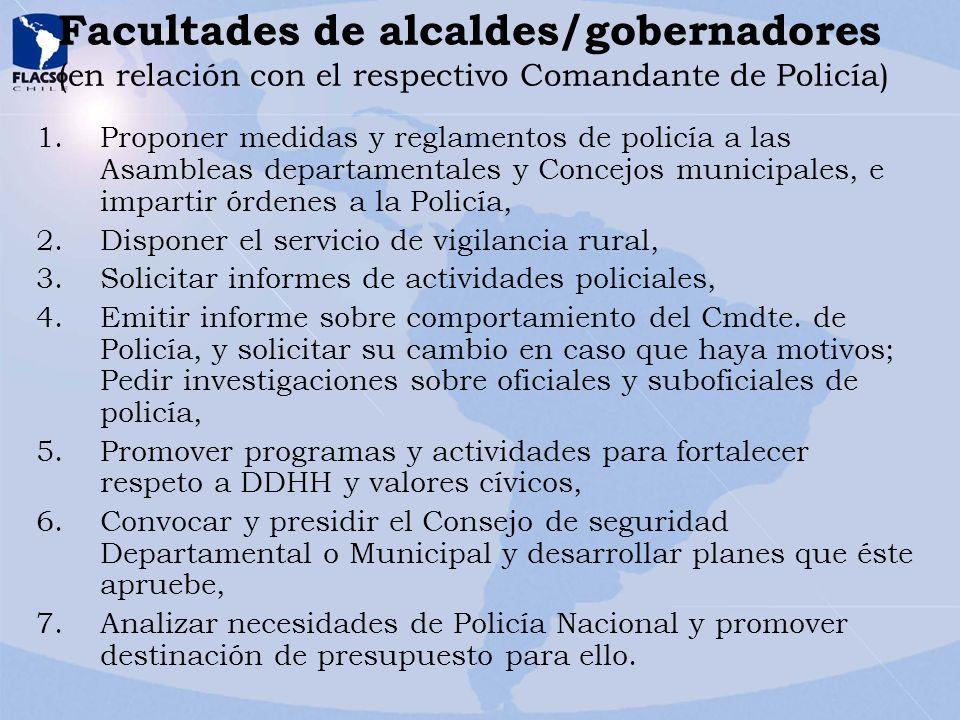 Facultades de alcaldes/gobernadores (en relación con el respectivo Comandante de Policía)