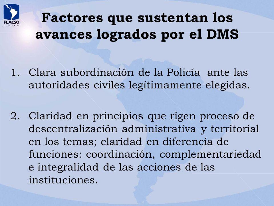 Factores que sustentan los avances logrados por el DMS