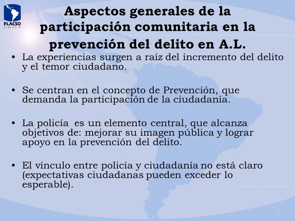 Aspectos generales de la participación comunitaria en la prevención del delito en A.L.