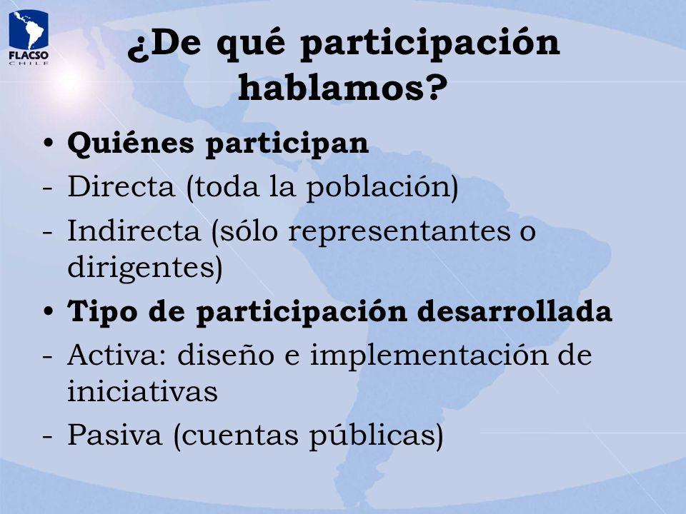 ¿De qué participación hablamos