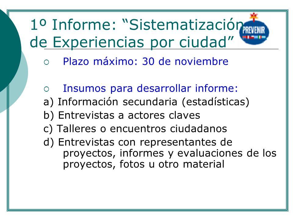 1º Informe: Sistematización de Experiencias por ciudad