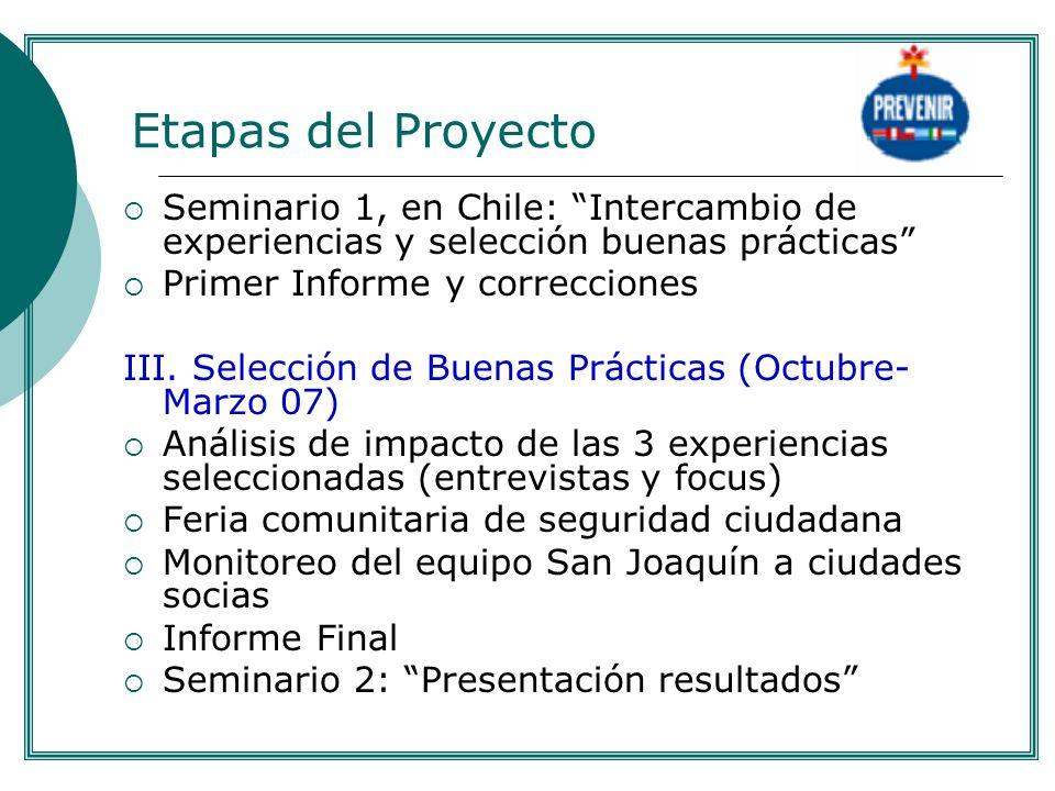 . Etapas del Proyecto. Seminario 1, en Chile: Intercambio de experiencias y selección buenas prácticas