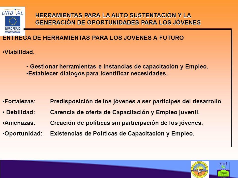 HERRAMIENTAS PARA LA AUTO SUSTENTACIÓN Y LA GENERACIÓN DE OPORTUNIDADES PARA LOS JÓVENES