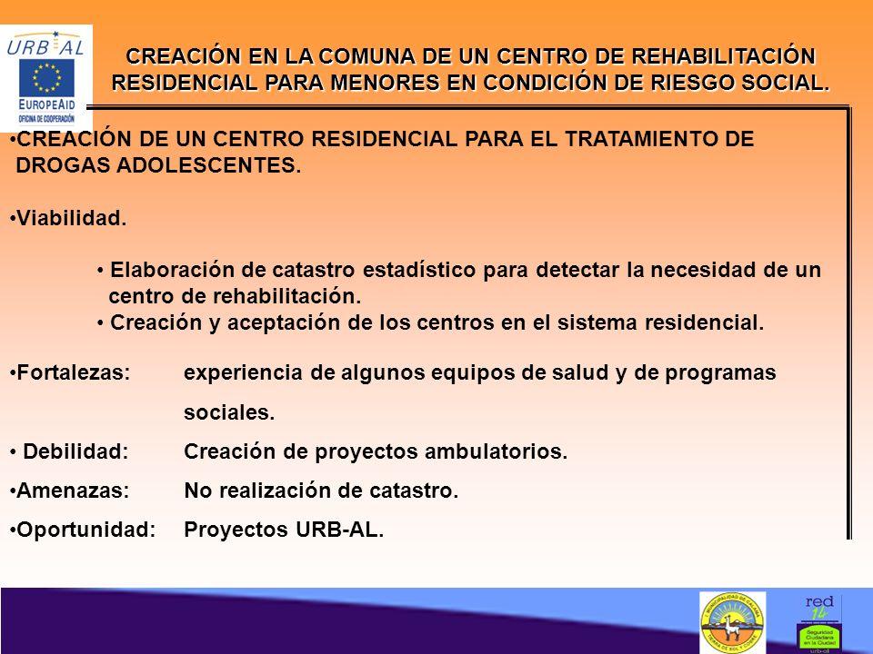 CREACIÓN EN LA COMUNA DE UN CENTRO DE REHABILITACIÓN RESIDENCIAL PARA MENORES EN CONDICIÓN DE RIESGO SOCIAL.
