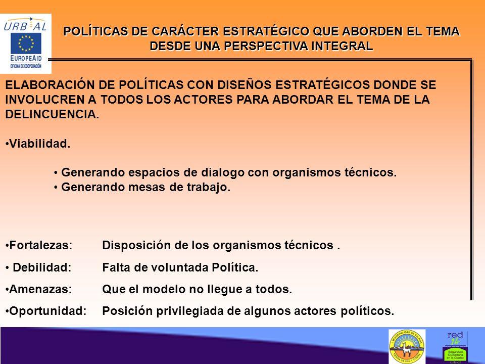 POLÍTICAS DE CARÁCTER ESTRATÉGICO QUE ABORDEN EL TEMA DESDE UNA PERSPECTIVA INTEGRAL