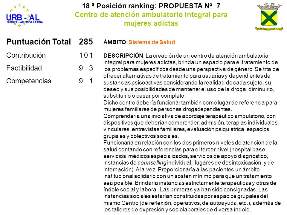 18 ª Posición ranking: PROPUESTA Nº 7