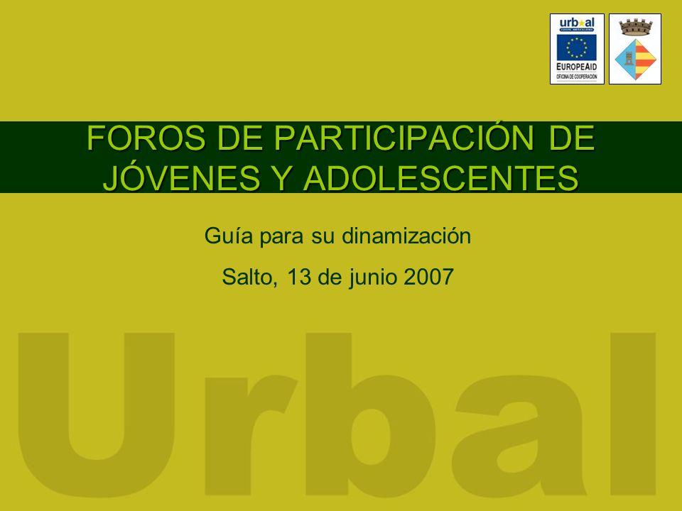 FOROS DE PARTICIPACIÓN DE JÓVENES Y ADOLESCENTES