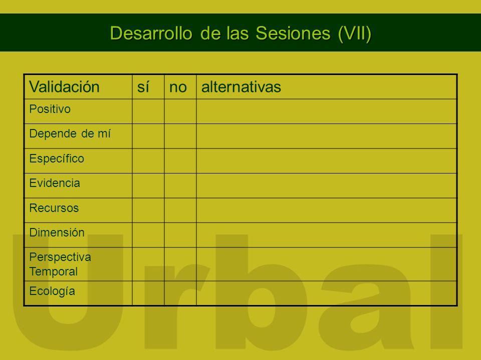 Desarrollo de las Sesiones (VII)