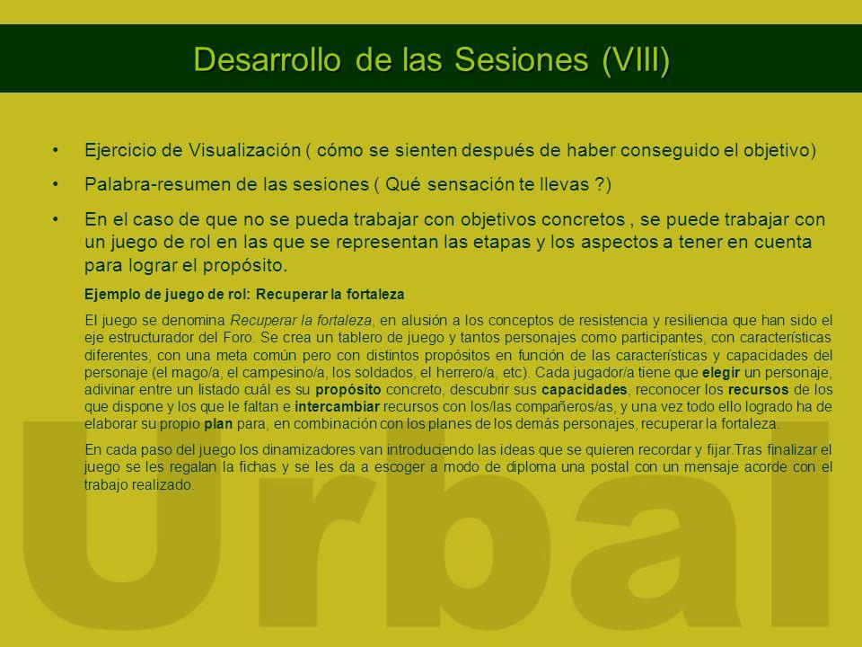 Desarrollo de las Sesiones (VIII)