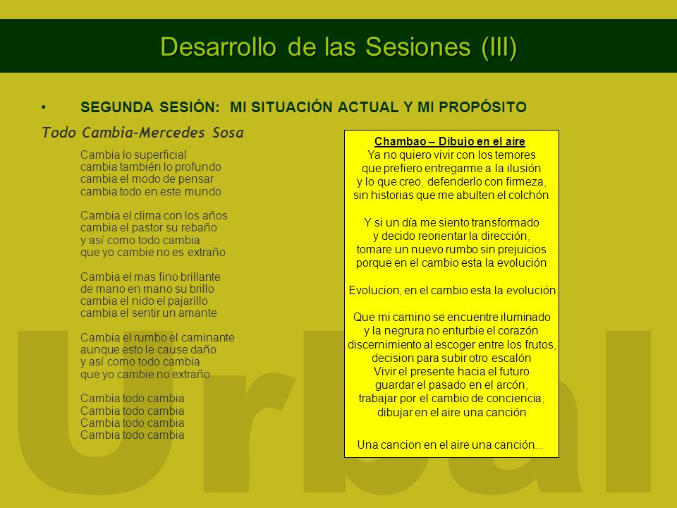 Desarrollo de las Sesiones (III)