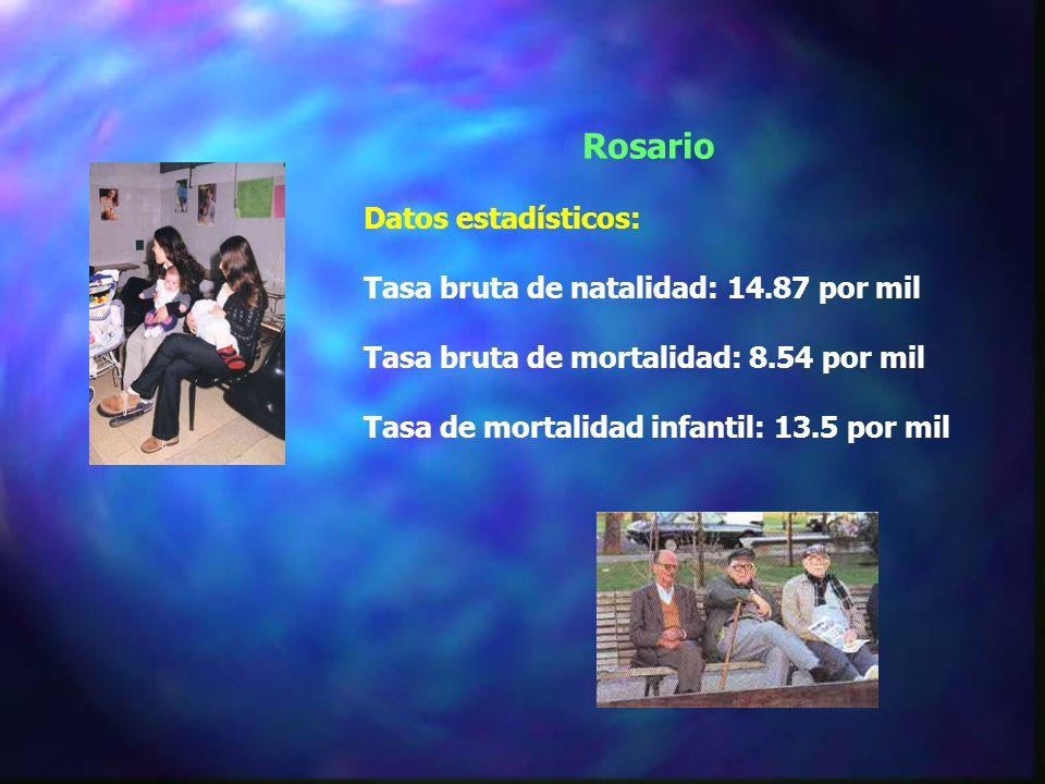 Rosario Datos estadísticos: Tasa bruta de natalidad: 14.87 por mil