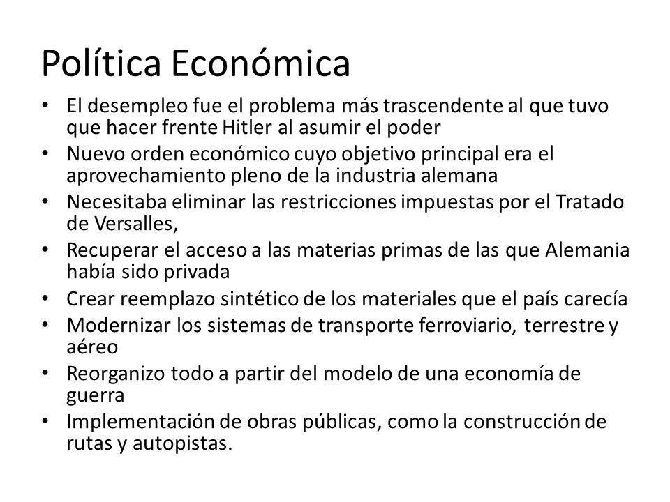 Política Económica El desempleo fue el problema más trascendente al que tuvo que hacer frente Hitler al asumir el poder.