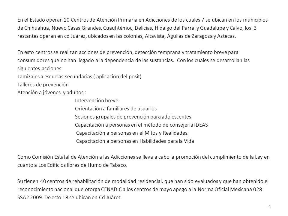 En el Estado operan 10 Centros de Atención Primaria en Adicciones de los cuales 7 se ubican en los municipios de Chihuahua, Nuevo Casas Grandes, Cuauhtémoc, Delicias, Hidalgo del Parral y Guadalupe y Calvo, los 3 restantes operan en cd Juárez, ubicados en las colonias, Altavista, Águilas de Zaragoza y Aztecas.