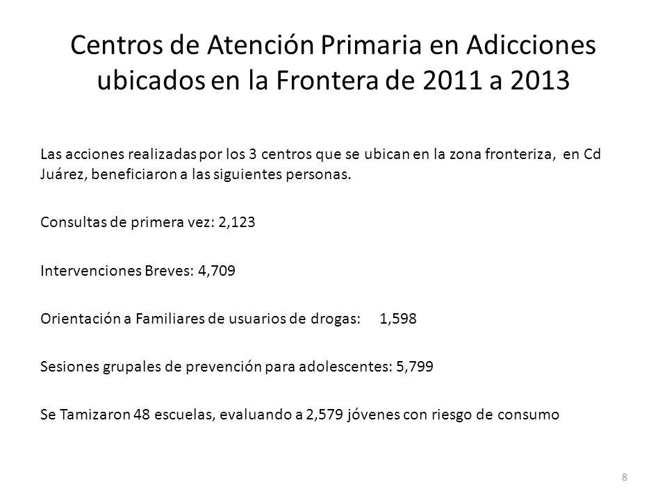 Centros de Atención Primaria en Adicciones ubicados en la Frontera de 2011 a 2013