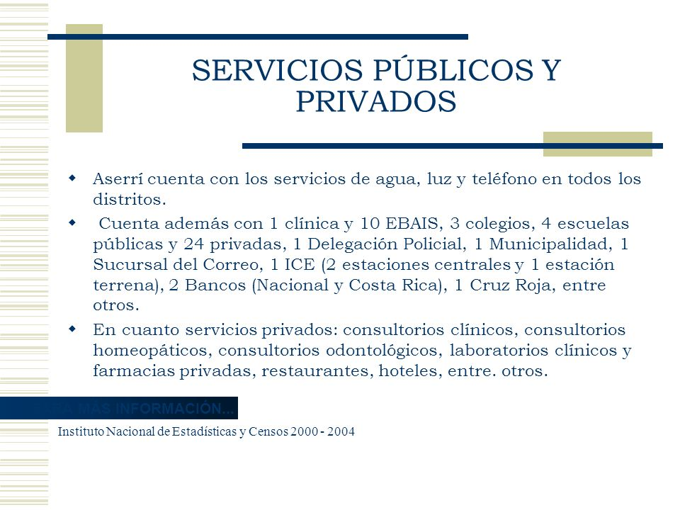 SERVICIOS PÚBLICOS Y PRIVADOS