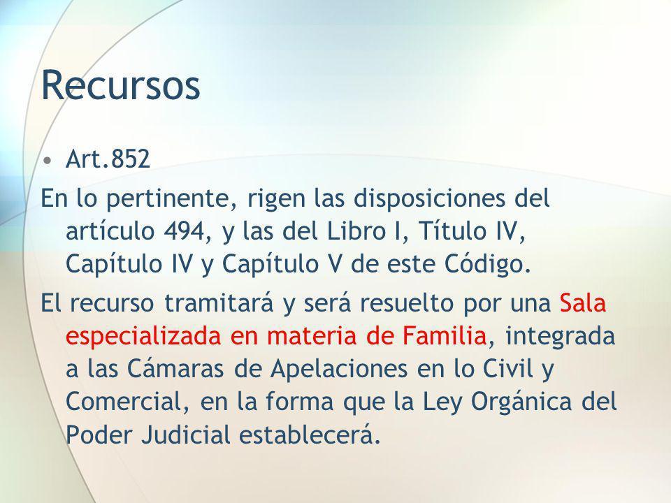 Recursos Art.852. En lo pertinente, rigen las disposiciones del artículo 494, y las del Libro I, Título IV, Capítulo IV y Capítulo V de este Código.