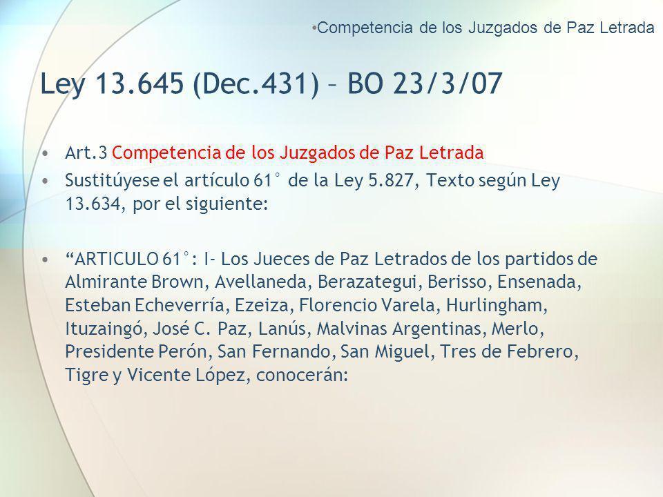 Competencia de los Juzgados de Paz Letrada
