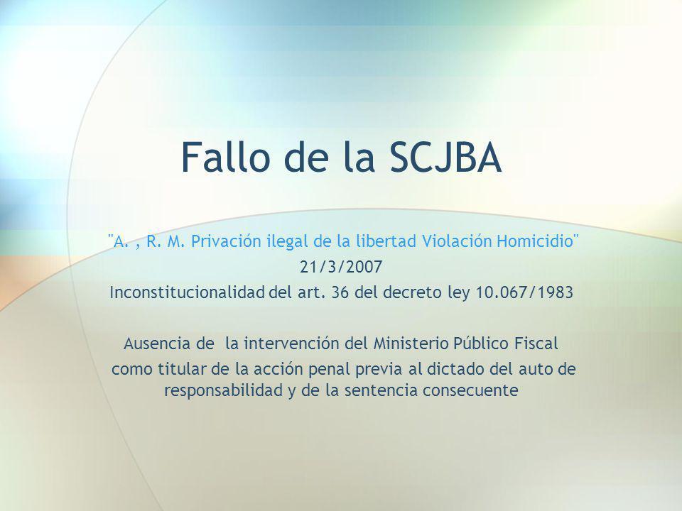 Fallo de la SCJBA A. , R. M. Privación ilegal de la libertad Violación Homicidio 21/3/2007.