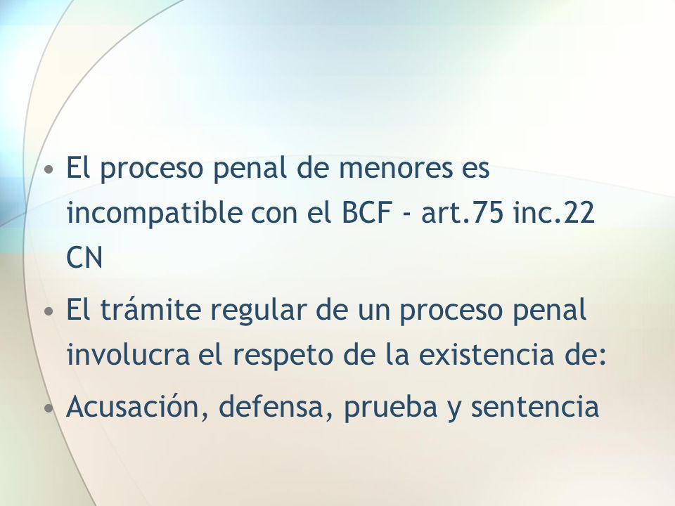 El proceso penal de menores es incompatible con el BCF - art. 75 inc