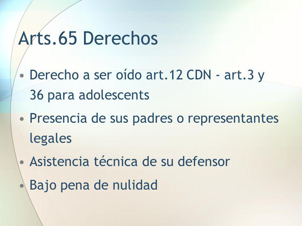 Arts.65 Derechos Derecho a ser oído art.12 CDN - art.3 y 36 para adolescents. Presencia de sus padres o representantes legales.