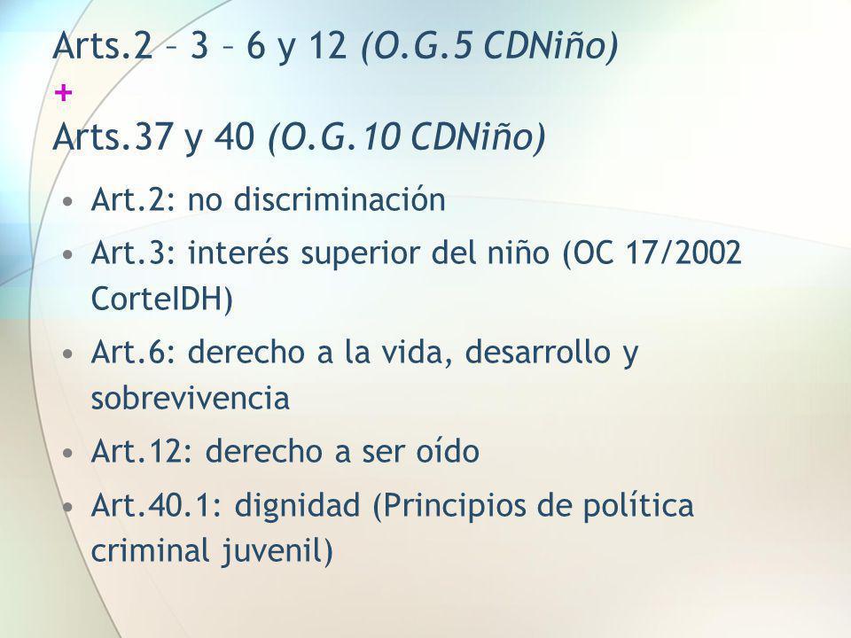 Arts.2 – 3 – 6 y 12 (O.G.5 CDNiño) + Arts.37 y 40 (O.G.10 CDNiño)