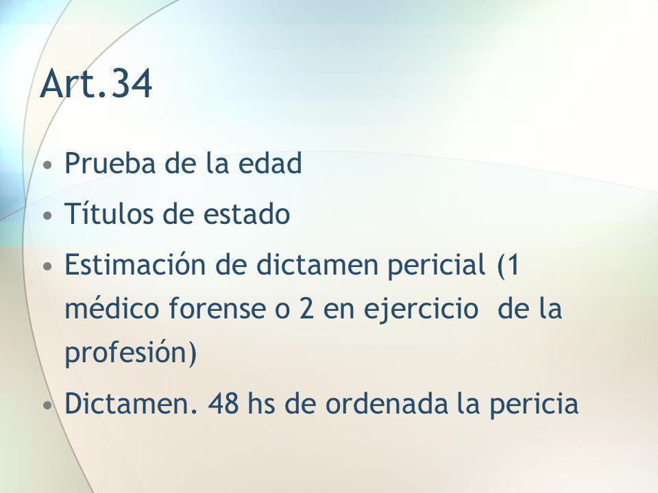 Art.34 Prueba de la edad Títulos de estado
