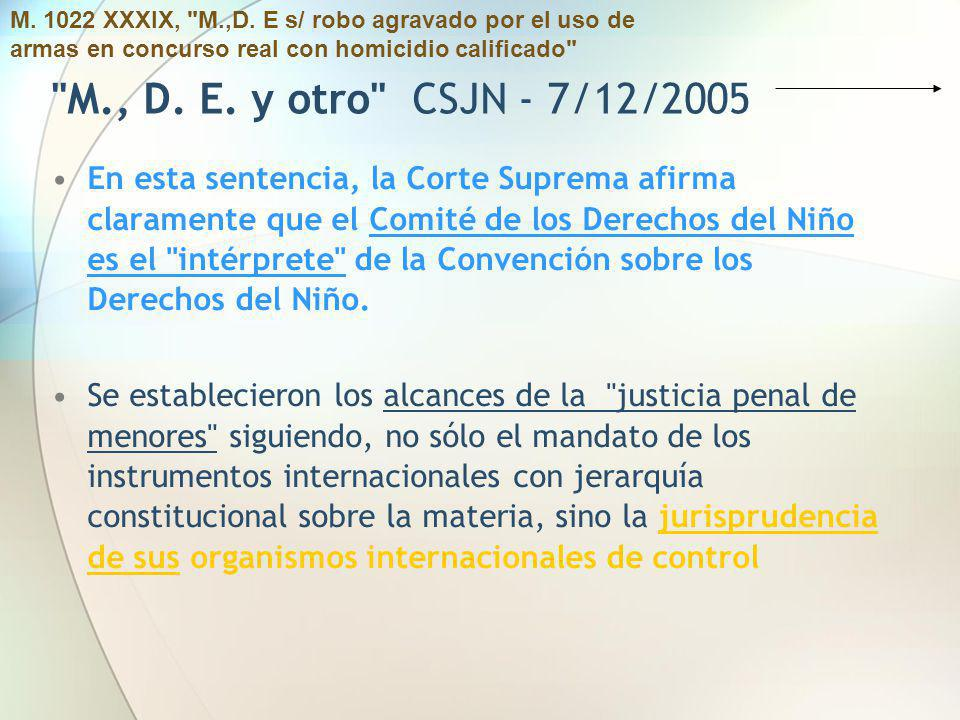 M. 1022 XXXIX, M.,D. E s/ robo agravado por el uso de armas en concurso real con homicidio calificado