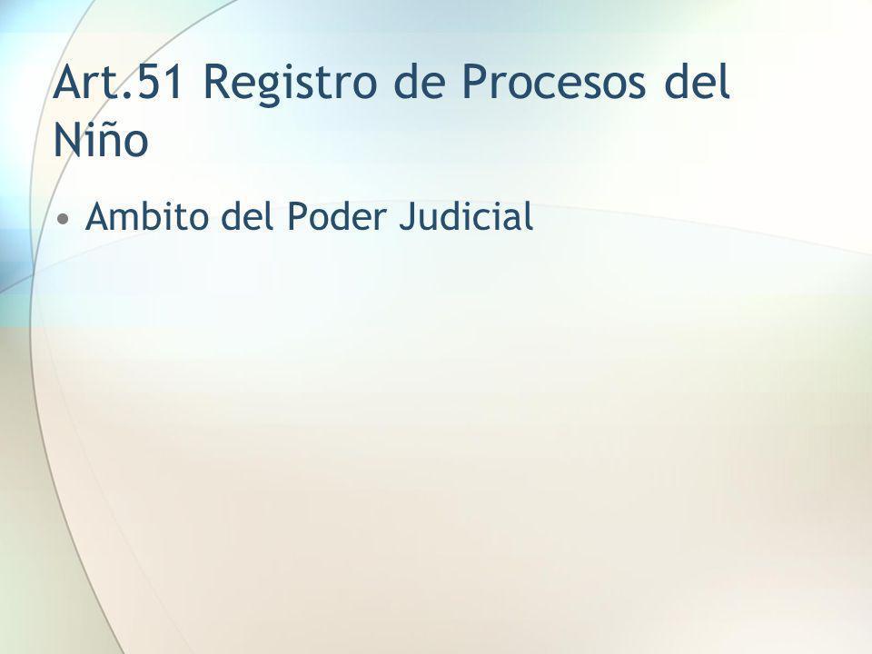 Art.51 Registro de Procesos del Niño