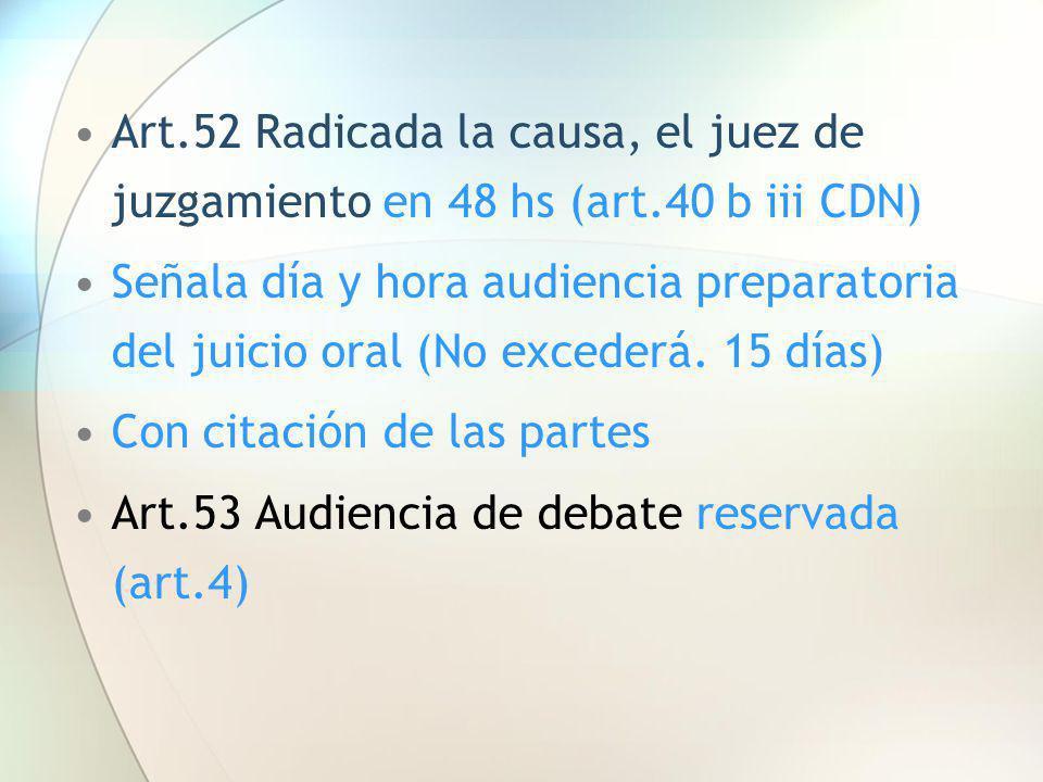 Art. 52 Radicada la causa, el juez de juzgamiento en 48 hs (art