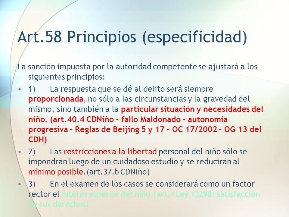 Art.58 Principios (especificidad)