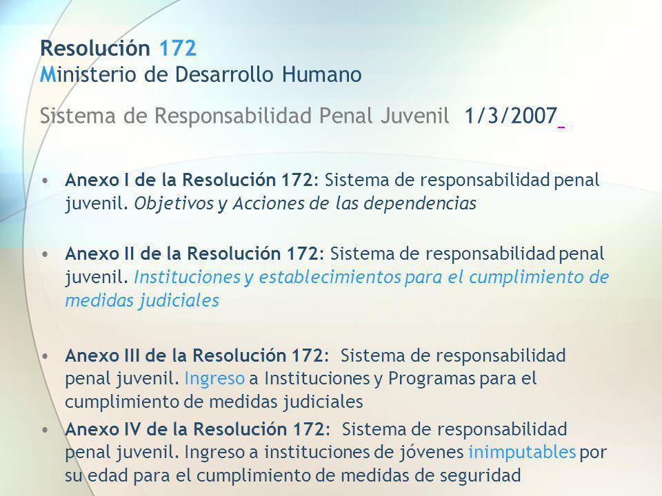Resolución 172 Ministerio de Desarrollo Humano Sistema de Responsabilidad Penal Juvenil 1/3/2007