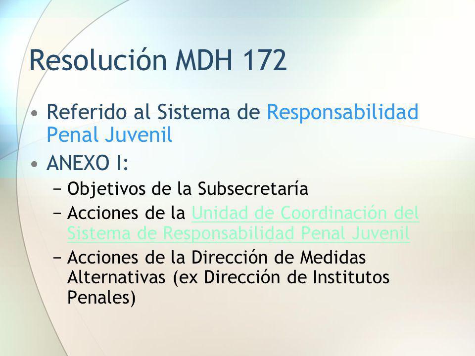 Resolución MDH 172 Referido al Sistema de Responsabilidad Penal Juvenil. ANEXO I: Objetivos de la Subsecretaría.