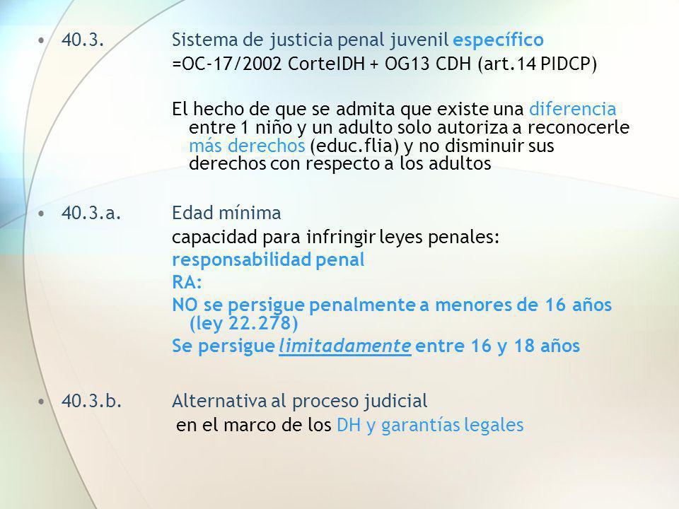40.3. Sistema de justicia penal juvenil específico
