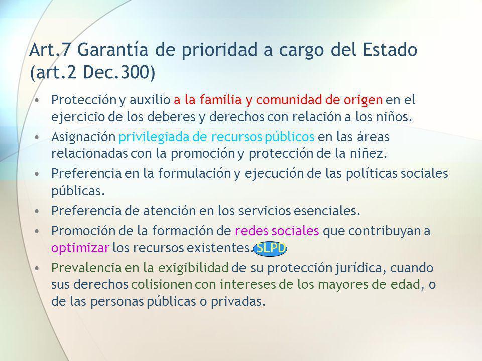 Art.7 Garantía de prioridad a cargo del Estado (art.2 Dec.300)