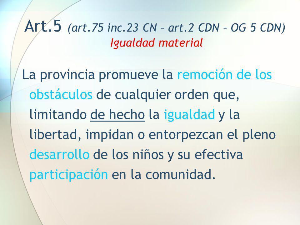 Art.5 (art.75 inc.23 CN – art.2 CDN – OG 5 CDN) Igualdad material