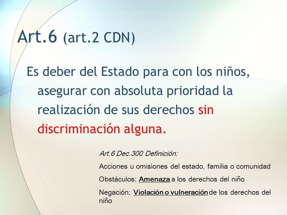 Art.6 (art.2 CDN) Es deber del Estado para con los niños, asegurar con absoluta prioridad la realización de sus derechos sin discriminación alguna.