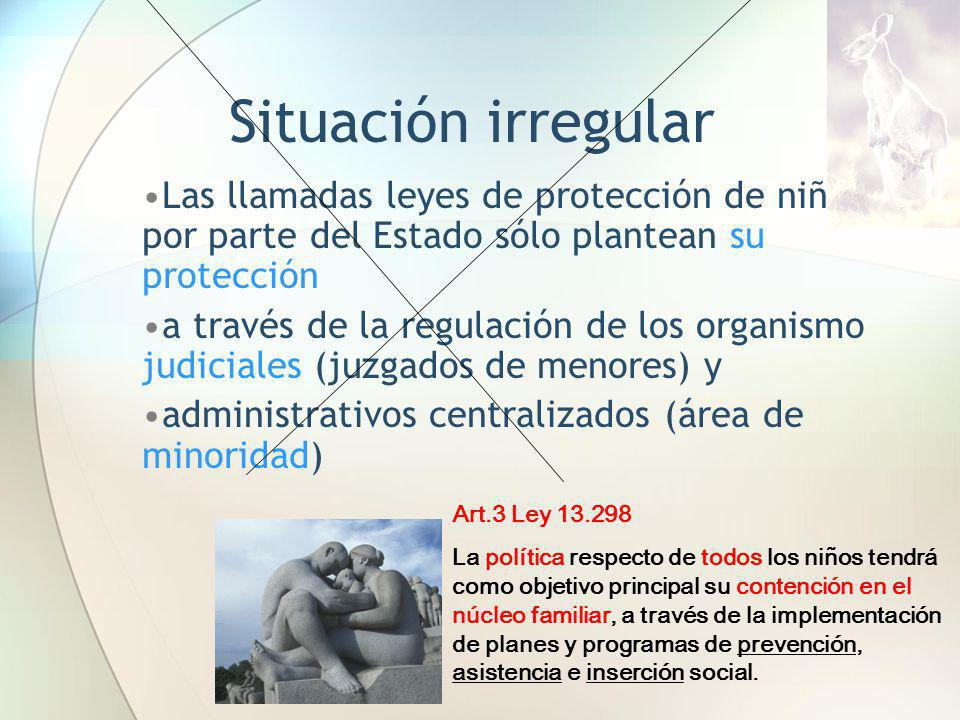 Situación irregular Las llamadas leyes de protección de niños por parte del Estado sólo plantean su protección.