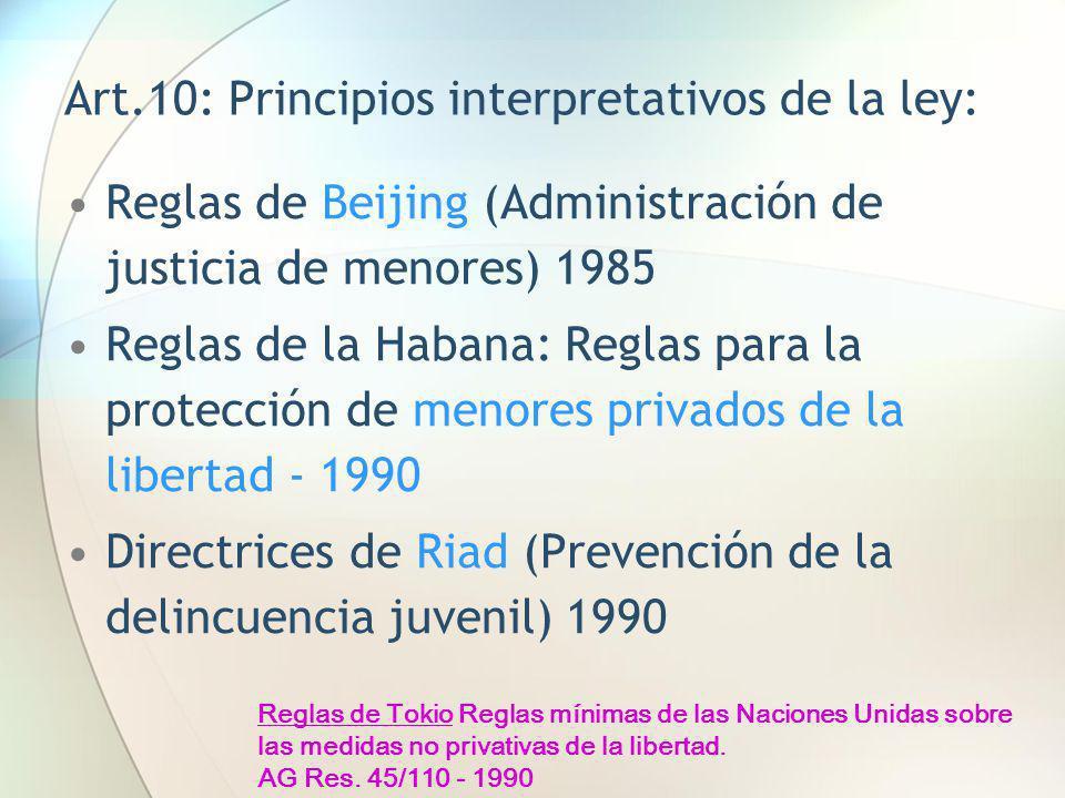 Art.10: Principios interpretativos de la ley: