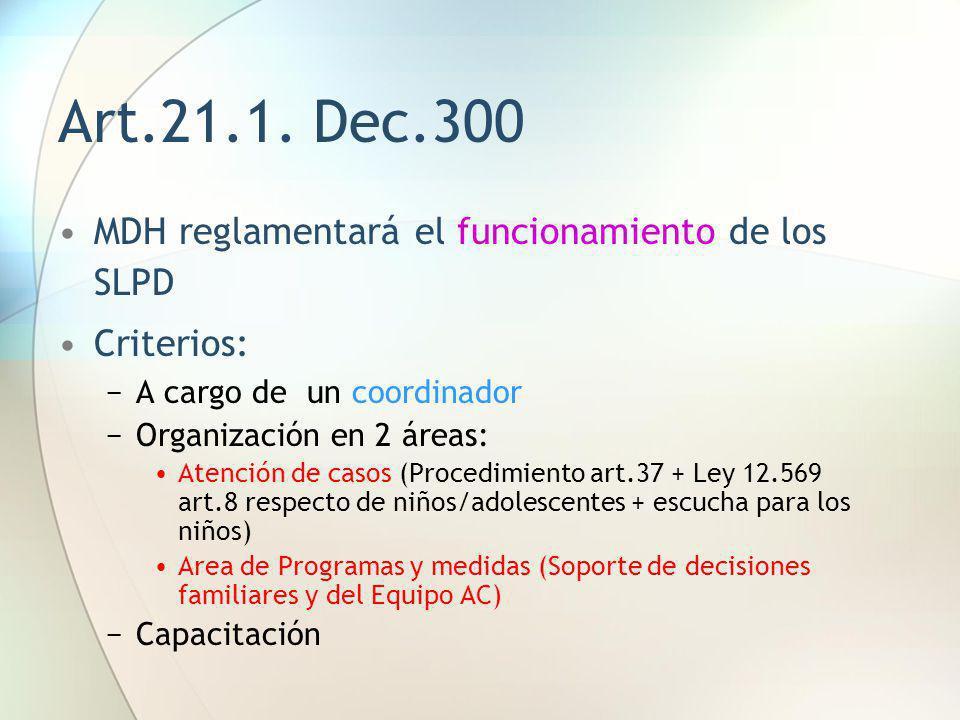Art.21.1. Dec.300 MDH reglamentará el funcionamiento de los SLPD
