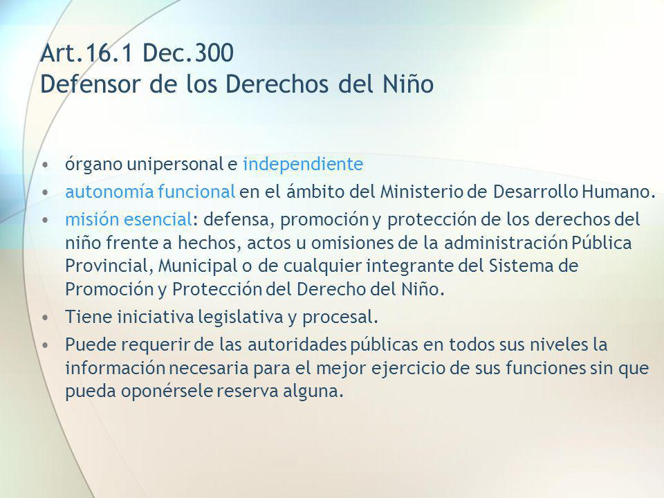 Art.16.1 Dec.300 Defensor de los Derechos del Niño