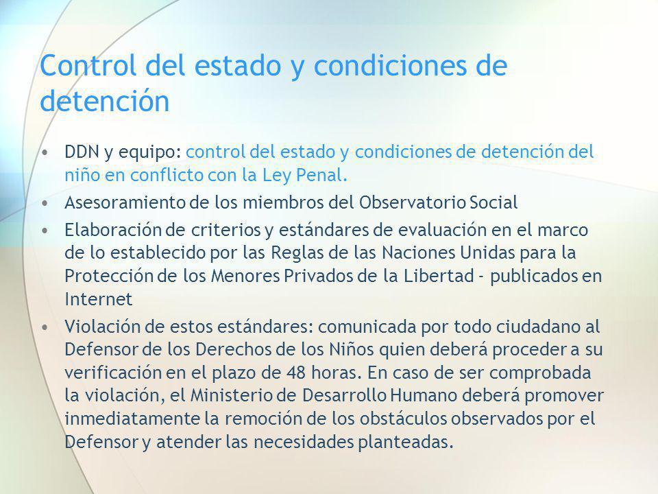 Control del estado y condiciones de detención