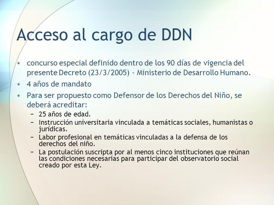 Acceso al cargo de DDN