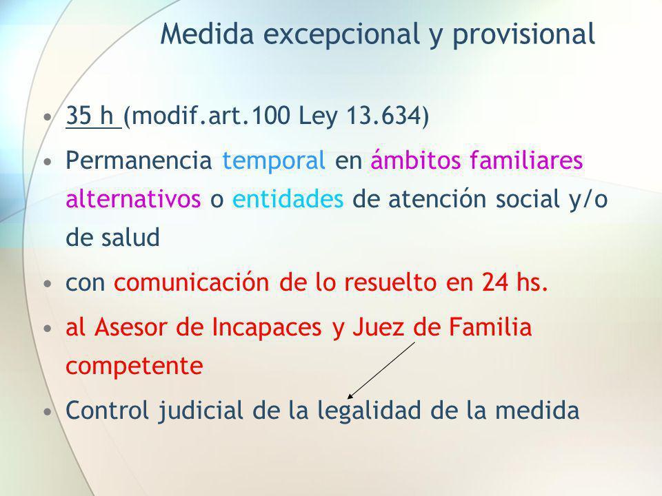 Medida excepcional y provisional